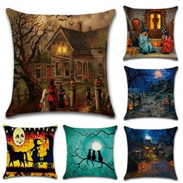 Wholesale New Cushion Cover Styles Hot Cotton Halloween Series Pillow Cover Old House Witch Pumpkin Cat Pillowcase Home Decoration Pillow Case