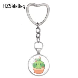$enCountryForm.capitalKeyWord NZ - 2019 New Beautiful Cactus Keyring Cute Echinopsis Tubiflora Heart Keychain Silver Hand Craft Jewelry Glass Dome Accessory