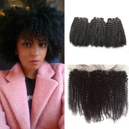 curly hair frontal lace closure 2019 - Full Frontal Lace Closure With 3pcs Indian Afro Kinky Curly Virgin Hair Bundles 4pcs Lot 100% Human Hair discount curly