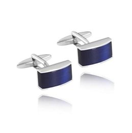 Blue Shirt For Wedding Australia - New Exquisite Blue Square Shirt Cuff links Unique Copper Color Retention Cufflinks Quality French Mens Cuff Button For Wedding