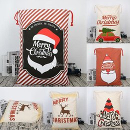 fabric gift bag christmas NZ - New Christmas Large Canvas Gift Bag Monogrammable Storage Bags Santa Reindeers Drawstring Candy Bag Christmas Supplies FWX9-743