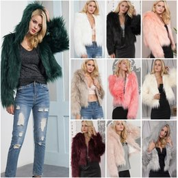 White Faux Fur Shorts Australia - Women Fashion Hodded Warm Faux Fur Coat Long Fur Short Jacket Outerwear