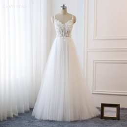 See Through Wedding Dress Crystal Beading Canada - MANYUANFANG 2019 Sweep Train Wedding Dresses Spaghetti Straps See Through Princess Bridal Gowns Beaded Lace Pearls Custom Made Bridal Gowns