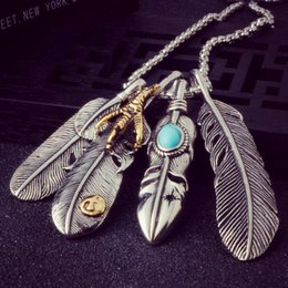 Men Pendant Feather NZ - Punk Leaf Feather Pendants Chain Necklace for Women Man Personality Eagle Claw Design Vintage Necklace Jewelry 6L5001