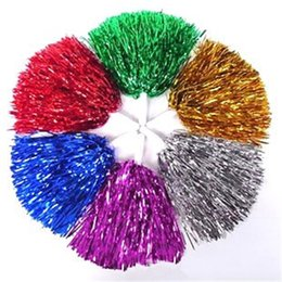 Poms flowers online shopping - Colorful Handheld Pom Poms With Handle Competition Cheerleading Flower Ball Fashion Cheer Dance Sport Supplies Hot Sale hd CB
