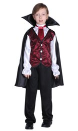 movie vampire costumes Canada - Shanghai story Halloween Costume For Kids Children Bat Vampire Cosplay Suits Prince Boy's Shirt Pants Cloak Sets