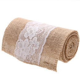 $enCountryForm.capitalKeyWord Canada - 15*240CM Natural Jute Burlap Hessian Bowknot Ribbon with Pretty Flower Lace Trim Chair Cover Vintage Retro Home Party Decoration