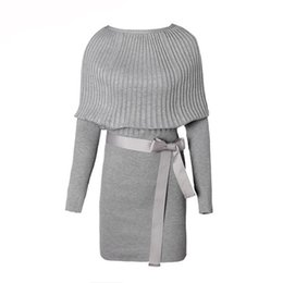 25ba822abb0 Sexy Cotton Bow Elastic Spring Autumn Black and Gray Knitted Dresses 2018  Explosion Women s Sweater Dress Vestidos Belt Party Dresses