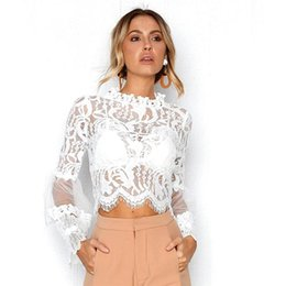 b0ee9692cbf New Fashion Women Sexy sheer Lace flroal patchwork blouses autumn summer  long sleeve see through slim short shirts blouses tops
