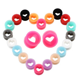 heart gauges 2020 - Soft Silica Ear Tunnel Hollow Heart Ear Plugs 6- 16mm Body Jewelry Ear Gauges Heart Silicone Mix Colors cheap heart gaug