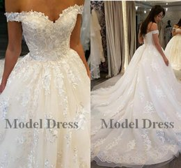 Corset China Custom made online shopping - 2018 A Line Wedding Dresses Saudi Arabia Off the Shoulder Corset Lace Up Back Long Train Lace Appliques Tulle Bridal Gowns China