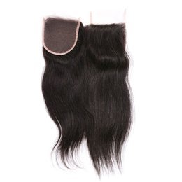 Chinese  Brazilian Straight Hair Lace Closure Good Quality 4x4 Straight Hair Closure Brazilian Human Hair Extensions Natural Color manufacturers