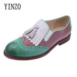 loafers shoes for women 2019 - YINZO Brand Flats British Oxford Shoes for Women Genuine leather sheepskin Women Tassels Slip-on Loafers Casual Shoes Wo