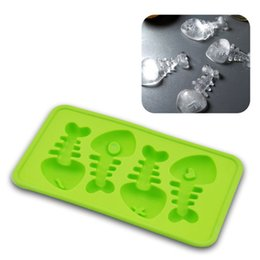 Discount silicone ice cube trays shapes - Bulk Lots 20*11*2cm Fish Shaped Ice Cubes Silicone Ice Cream Tray Mold 3 Colors Pudding Maker Gadgets Fit for - 40~230De