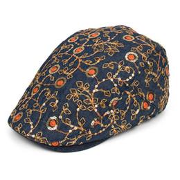$enCountryForm.capitalKeyWord Canada - women sequined berets autumn spring cotton adjustable Embroidery floral romantic vogue flat caps ladies street fashion denim visor hats dame