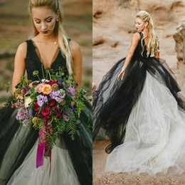 unique backless wedding dresses NZ - Unique Black and Ivory Gothic Wedding Dresses Deep V Neck Sleeveless Lace Top Tulle Skirt Beach Bridal Gowns Backless Brides Wear