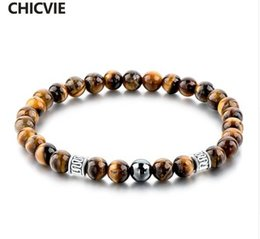 CHICVIE Tiger Eye Natural Beads Men Strand Bracelets & Bangles Silver color Femme Bracelets With Stones Jewelry SBR160124