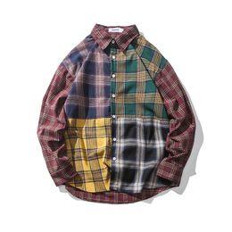 $enCountryForm.capitalKeyWord UK - 2018 Men Hip Hop Plaid Shirts Streetwear Autumn Color Block Checkered Patchwork Shirt Male Casual Cotton Long Sleeve Shirt Tops