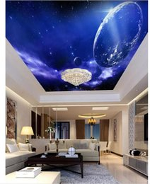 Custom Decor Silk Canada - Custom 3D Photo Ceiling Wallpaper Space planet zenith mural wall papers Home Interior Decor Living Room Ceiling Lobby Mural Wall