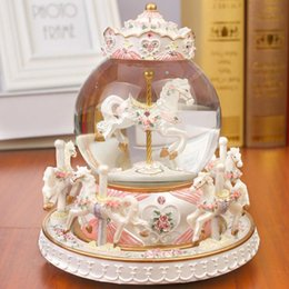 Crystal Ball Music Australia - Crystal Ball Carousel Resin Music Box Snowflakes Merry-go-round Musical Boxes Love Girl Creative Birthday Valentine's Day Gift