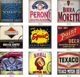 Vente en gros Collection de signes d'étain Shell Route 66 Vintage Wall Art Art RetroTIN SIGN Vieux mur peinture en métal ART Bar Man Cave Pub Restaurant Décoration de la maison