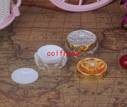 Discount golden bottle cosmetic - 100pcs lot 5g 10g Plastic Mask Bottles With Lids Golden Acrylic Sample Small Empty Cream Jars Cosmetic Packaging Contain