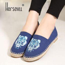 $enCountryForm.capitalKeyWord Australia - Fashion women's Loafers Slip on Flat Heel Hemp Sole woman Espadrilles tiger head Print Fisherman Canvas Women's Shoes
