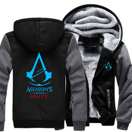 assassins creed hoodies free shipping UK - New Assassin Creed Unity print Hoodie 2018 hot mans Winter Fleece Mens Sweatshirts Free Shipping USA Size free shipping