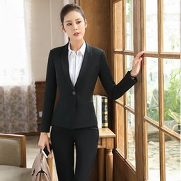 a06d19d5663 Novelty Black Autumn Winter Formal Professional Pantsuits Jackets And Pants  For Business Women Trousers Suits Blazers Plus Size