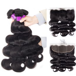 $enCountryForm.capitalKeyWord NZ - 4 Bundles With Lace Frontal 5pcs lot Mink Brazilian Body Wave Hair Bundles With Frontal Natural Jet Black Color Virgin Body Wave Hair