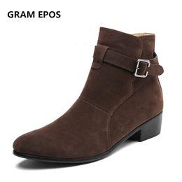 75280c2b68 GRAM EPOS hombres primavera otoño invierno cremallera chelsea botas  masculinas súper fresco vestido de negocios alta superior botas hombre  altura aumentar ...