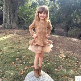 Wholesale pink ruffle sweater for sale – plus size 2018 Christmas New Sweater knit Casual Autumn Baby Clothes Long Sleeve Fake Two Piece Dresses baby girl clothes
