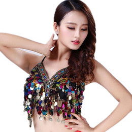 Discount women exotic costumes - Diamond Bra Women Belly Dance Top Samba Carnival Bellydance Costume Exotic Dancewear Tassel Chain Sequin Bra
