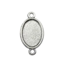 Pendant Tray Connector Australia - 40 Pieces Cabochon Cameo Base Tray Bezel Blank Jewelry Making Supplies Classic Connector Inner Size 13x18mm Oval cameos and cabochons