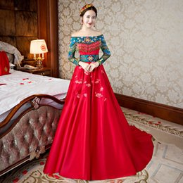 c4eed9bc454c Oriental evening dresses online shopping - Traditional Chinese Dress Women  Red Bride Wedding Qipao Dresses One