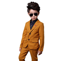 children jackets boys UK - Flower Boys Formal Suits Wedding Birthday Party Jackets Pants 2Pcs Gentleman Kids Children Tuxedo Blazer Costumes Clothes N23