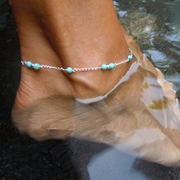 Unique Ankle Bracelet Chains NZ - Unique Nice Turquoise Beads Silver Chain Anklet souvenir Ankle Bracelet Foot Jewelry Fast Free Shipping New Hot Selling KKA1263
