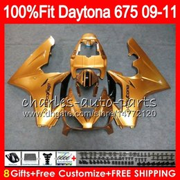 Triumph 675 Fairing 11 Canada - Glossy golden Injection For Triumph Daytona 675 09 10 11 12 Bodywork 107HM.10 Daytona-675 Daytona675 Daytona 675 2009 2010 2011 2012 Fairing