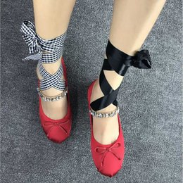 New Rhinestone Girl Dress Shoes Crystal Ballet Flats Shoes For Dance Women  Ribbon Tie Mary Janes Ballerina Zapatos Mujer 1b1f2aa621bd