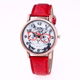 trendy cat glasses 2019 - Dropshipping Couple Watch Cat Design Trendy Quartz Watch Universal Round Dial Watches Retro Fashionable Wristwatch 2018