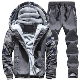Chinese  Mens Hoodies Sets Warm Men Sport Suit Gym Clothing Camouflage Sleeves Fleece Lining Sportswear Hooded Running Jogging Suits manufacturers
