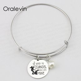 $enCountryForm.capitalKeyWord NZ - I USED TO BE HIS ANGEL NOW HE'S MINE Inspired Hand Stamped Engraved Pendant Charm Bracelet Bangle Jewelry,10Pcs Lot, #LN2367B
