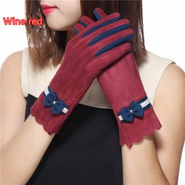 Leather Wrist Gloves Australia - 1 Pair Autumn Winter Warm Faux Suede Leather Colors Patchwork Gloves Women 2018 Elegant Bowknot Wrist Gloves Christmas Birthday Gift