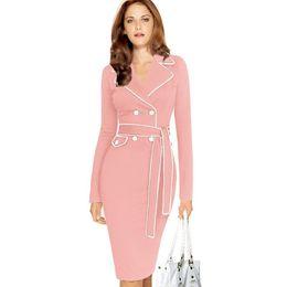 ff9260eda90 Women s Vintage Autumn Pencil Dress for Lady Fashion Long-Sleeve Slim Suit  Collar Solid Color Patchwork Business Dresses