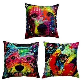 $enCountryForm.capitalKeyWord UK - Colorful doodles Pet Dog Pillow Case Cushion Cover linen cotton Square Throw Pillow Cases Pillowcase Home soft Textiles Animal type