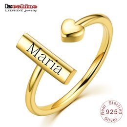LZESHINE Anpassen Gravierte Name Ring Gold Farbe Silber S925 Personalisierte Benutzerdefinierte Einstellbare Ringe Für Frauen Jahrestag Schmuck im Angebot