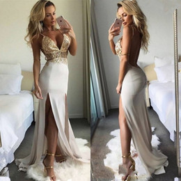 Wholesale see sided dress for sale – plus size 2019 Split Side HIgh Prom Dresses Deep V Neck Spaghetti Straps Evening Gowns Plus Size Applique Lace Graduation Dress See Through GOld Beads