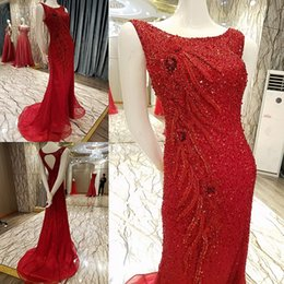 $enCountryForm.capitalKeyWord NZ - 2019 Luxury Red Party Dresses O-Neck Sleeveless Lace Up Back Mermaid Beading Crystals Bling Glitter Evening Dresses Long Real Photos Prom