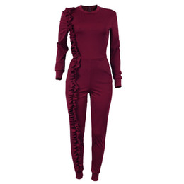 $enCountryForm.capitalKeyWord UK - Fashion Ruffles Casual Jumpsuit Women's Solid Round Neck Long Sleeve Slim Rompers 2018 Spring Autumn One Piece Pants Overalls