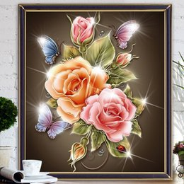 Discount diy diamond painting roses - New 5D Diy Diamond Painting Flowers Diamond mosaic Cross Stitch Magic Cube Square Diamond Embroidery Colorful Rose & but